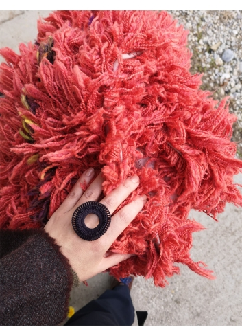 red stole wool scarf fax fur fluffy