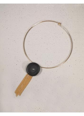 Collana  catena oro nero frangia girocollo rigida bijoux