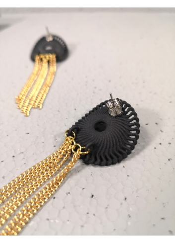 Venice pendant Earrings, Black