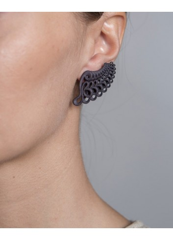 Leaf earrings, lava
