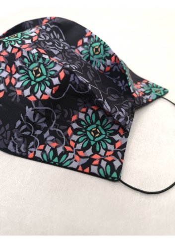 Mascherina  Mosaico lavabile colorata nera covid