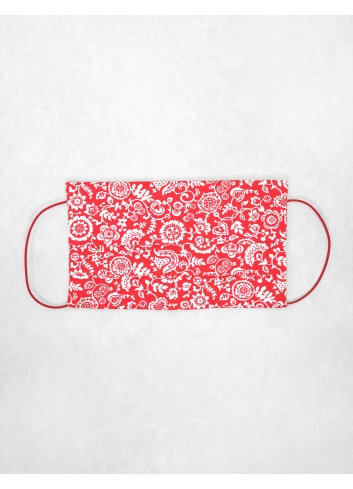 Alice Mask, reusable, double-sided liberty london fabric coulful red christmas