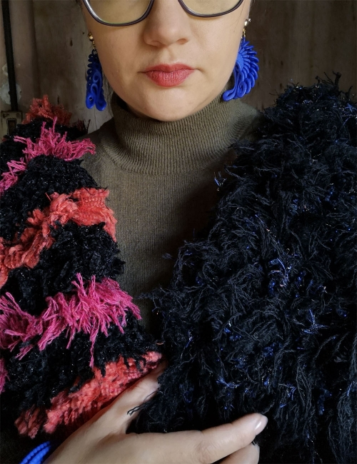 eco-wool scarf coloured selvedges