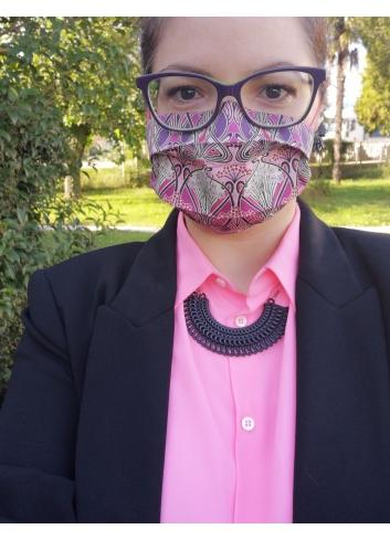 REusable face mask MAGENTA ART NOUVEAU  covering
