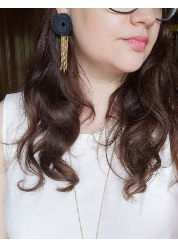 Venice pendant Earrings, Black bijoux golden
