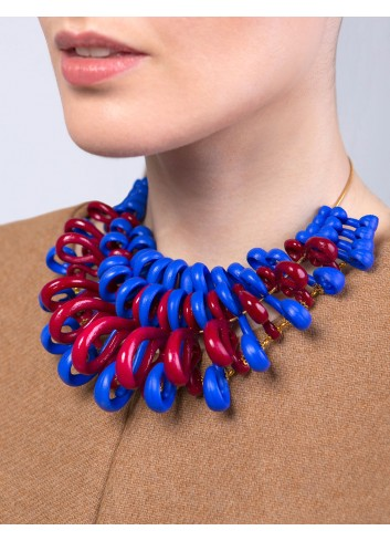 Gerbera necklace, Blue and...
