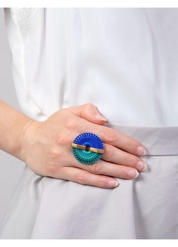 Circle Venice ring RG-01B BLUE and ANIMA fashion bijoux 3D printed