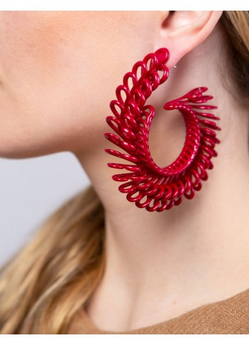 Orecchini Circle Feather ER-24 DELICIOUS RED fashion bijoux Paolin