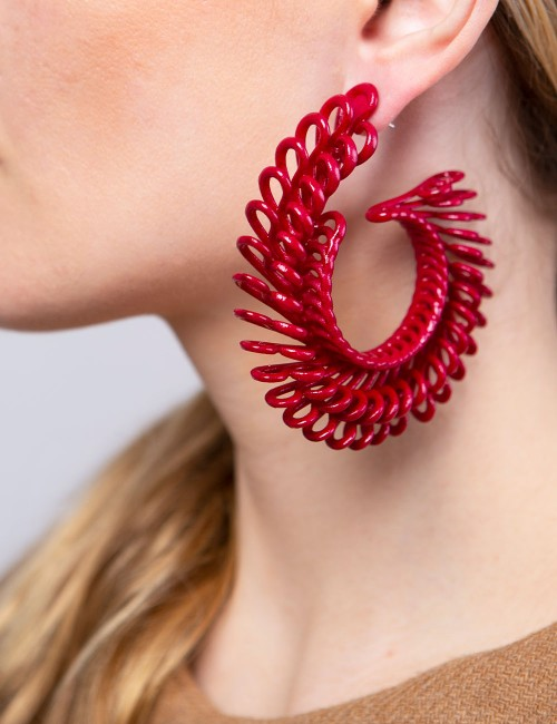 Circle Feather earrings ER-24 DELICIOUS RED Paolin fashion custom jewellery