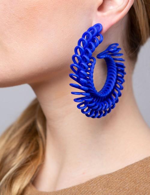 Circle Feather earrings ER-24 BLUE Paolin fashion custom jewelry