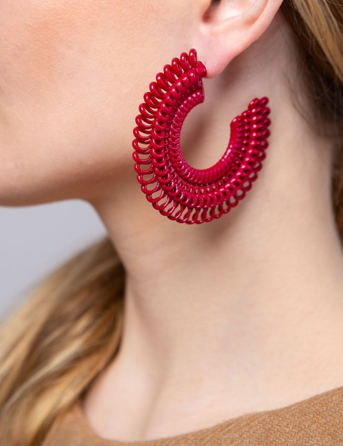 Teneriffe earrings, Delicious Red