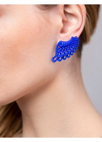 Leaf earrings, Blue