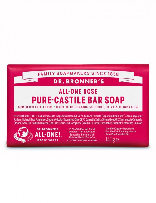 organic bar soap Dr Bronner rose