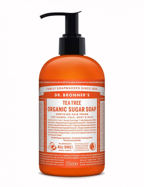 Dr Bronner organic sugar soap tea tree 355 ml