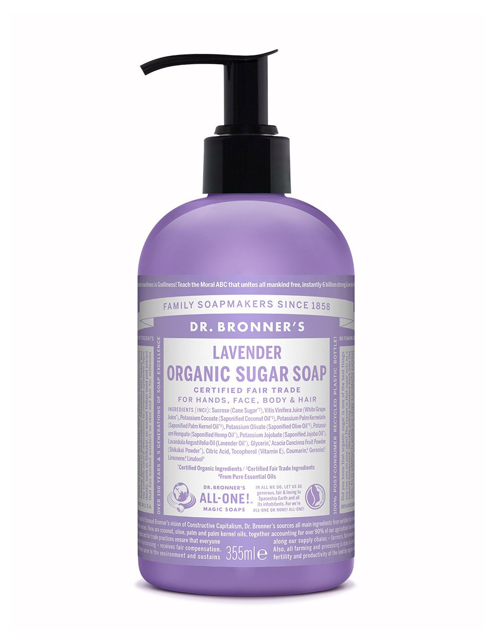 Dr Bronner organic sugar soap lavender 355ml