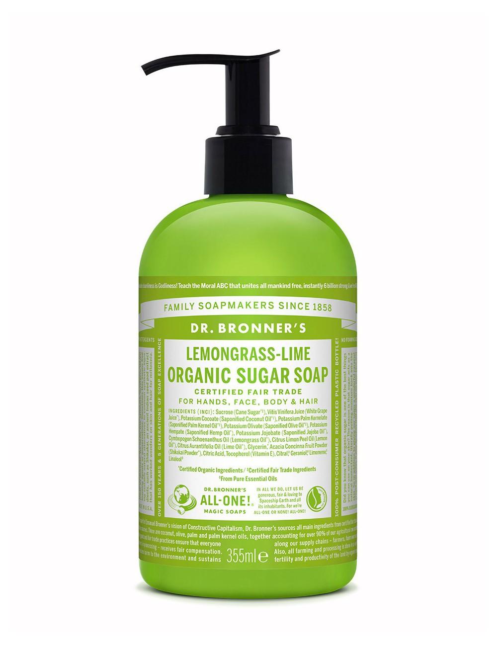 sapone biologico naturale Dr Bronner lemongrass lime 355ml