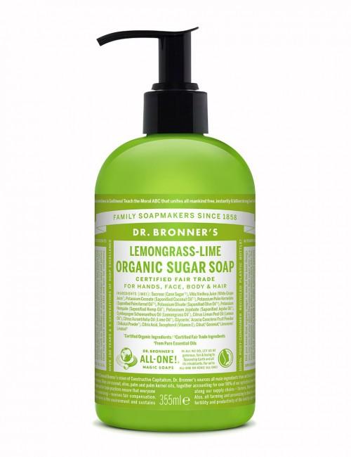 Dr Bronner organic sugar soap lemongrass lime 355ml