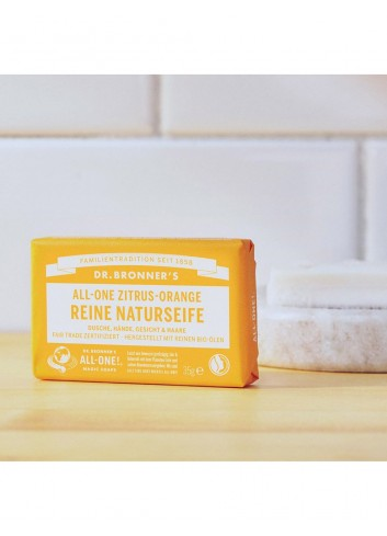 Dr Bronner organic vegan soap bar citrus-orange