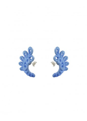Novelty earrings, wool blue