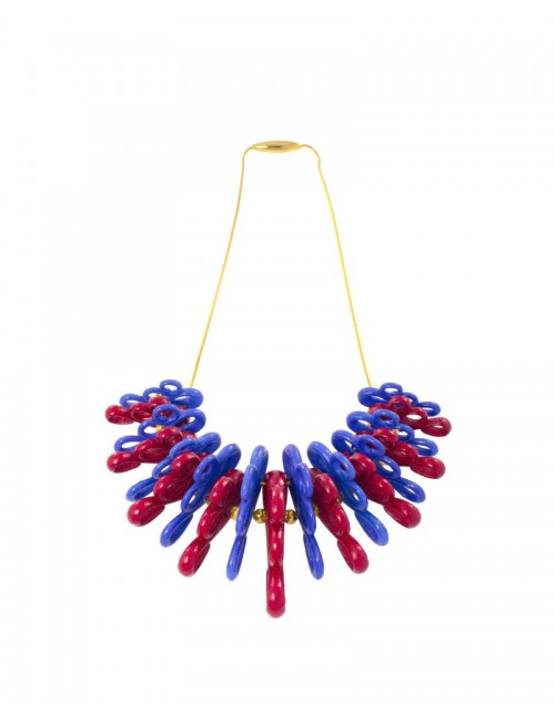 Daisy necklace, Denim Blue and Delicious Red