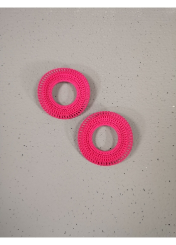 Hot Pink, earrings  3d printed statement fashion costume designer
