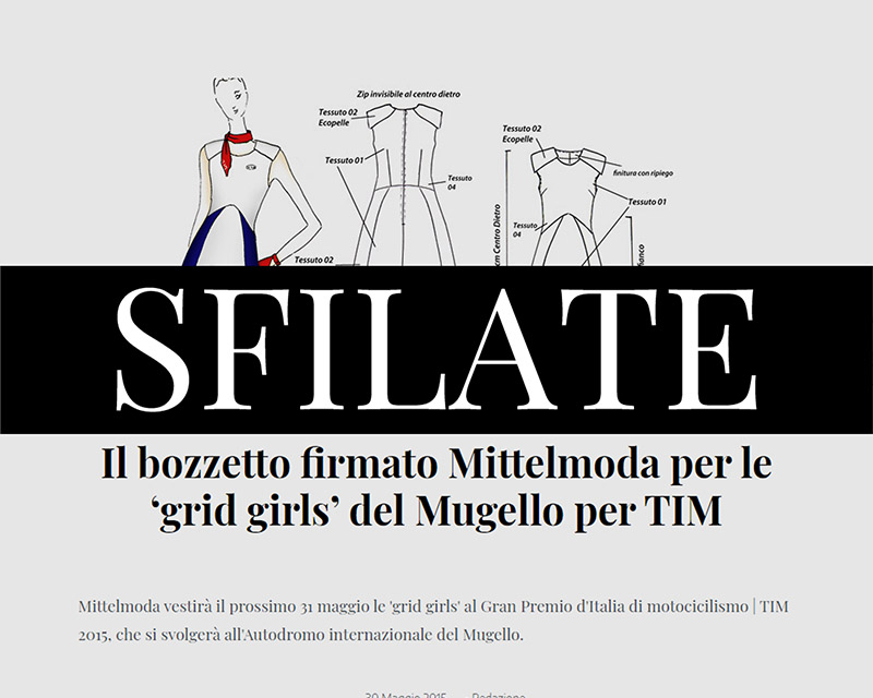 Francesca Paolin fashion designer Sfilate Mittelmoda outfit grid-girls hostesses TIM motogp Italy