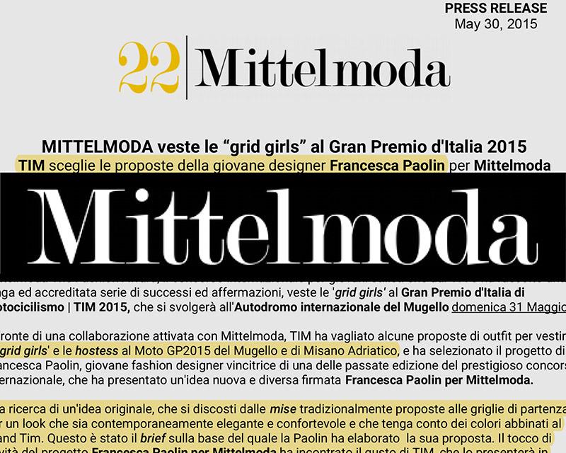 mittelmoda press release Francesca Paolin fashion designer outfit grid girls TIM motogp Italy