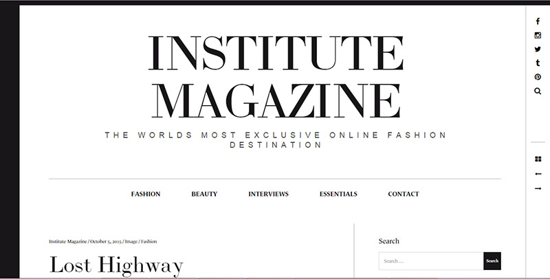 Institute Magazine online fashion mag Lost Highway article