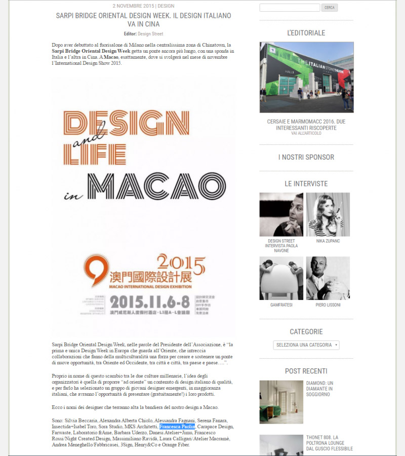 Paolin jewellery at Design and life Macao 2015 sarpi bridge with Design Street Milan