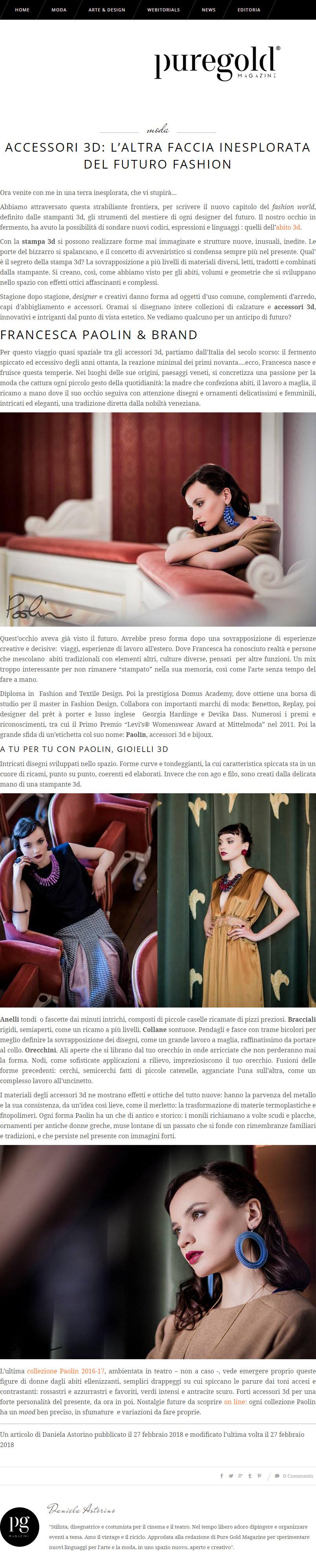 Paolin 3D gioielli stampati 3D su puregold fashion magazine