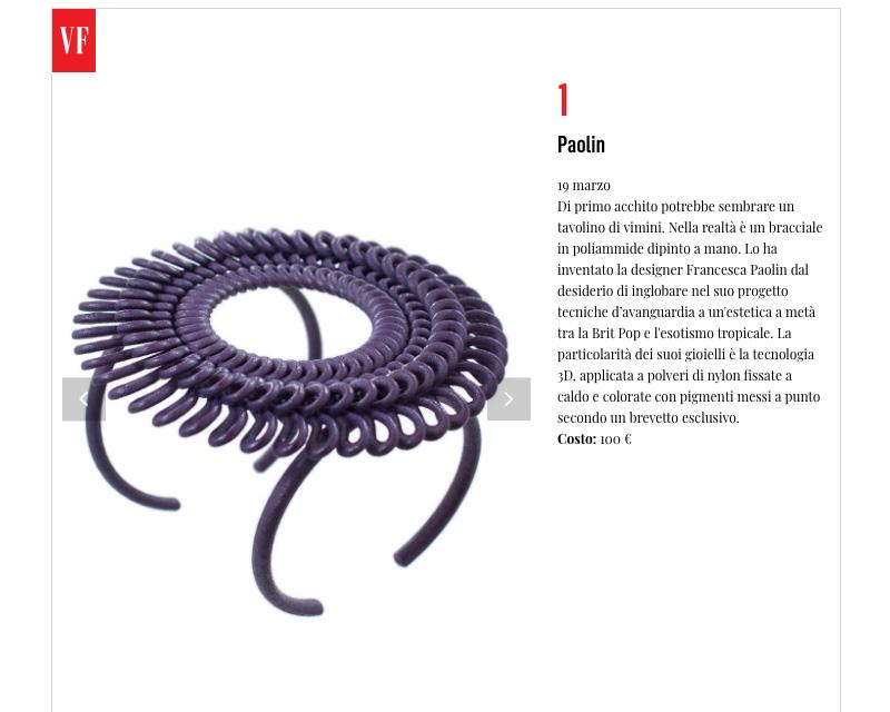 bracciale Paolin stampato 3D su vanity fair