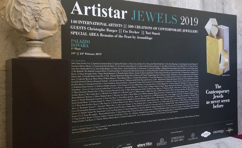 Paolin 3D printed jewellery at Artistar Jewels 2019 entrance panel