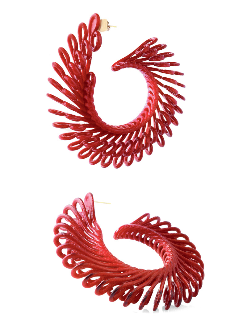 Paolin jewellery bijoux 3d printed Circle Feather earrings at Artistar Jewels Milan