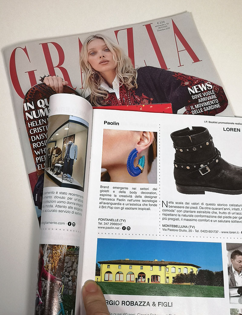 Grazia fashion magazine with colourful Paolin 3D printed earrings