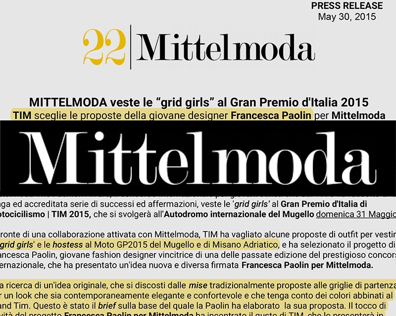 MITTELMODA PRESS RELEASE, PAOLIN FOR TIM, MOTO GP, May 2015